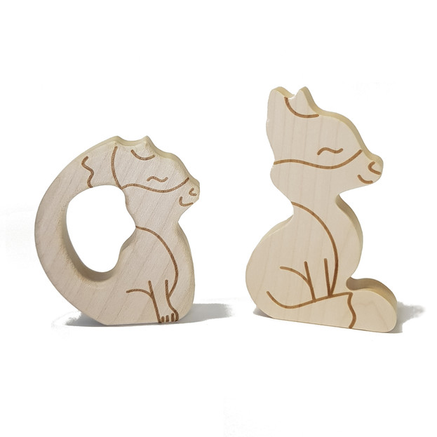 Fox toy and teether in natural wood