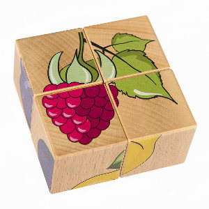 4 cube puzzle with fruits.