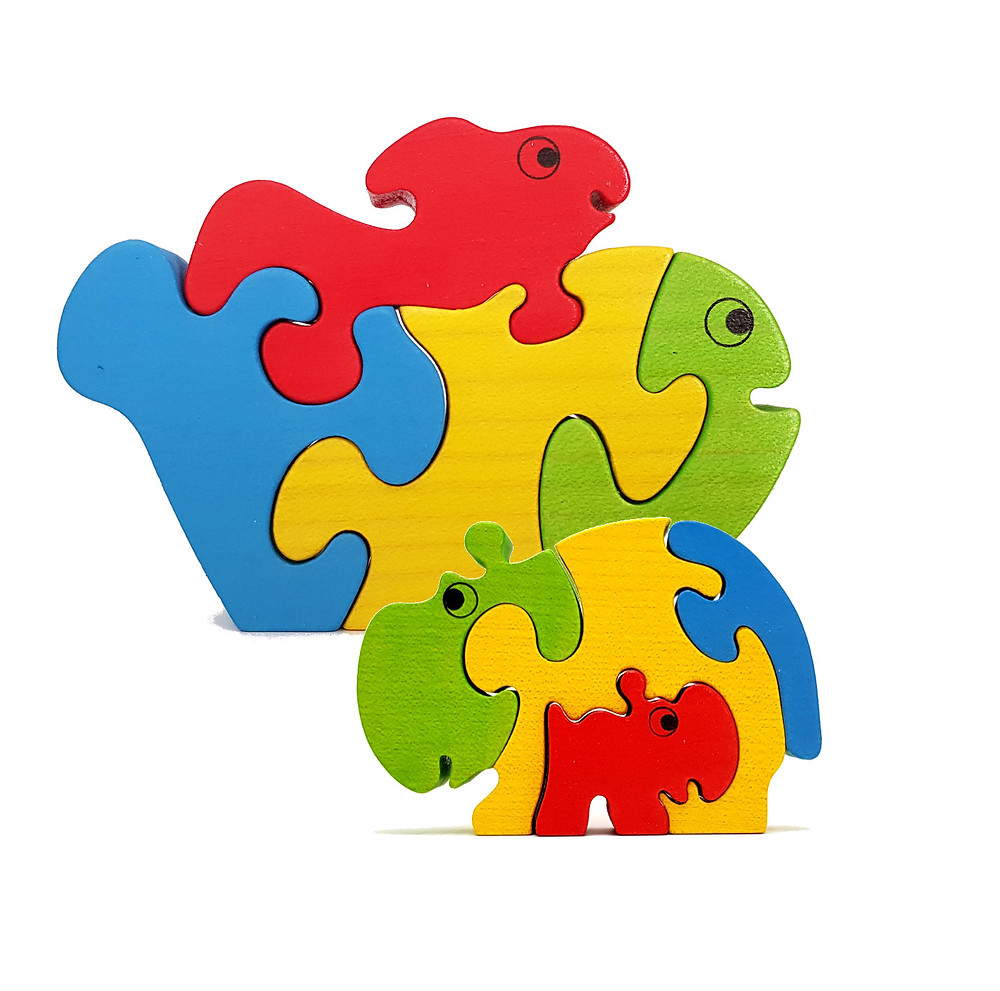 wooden jigsaw puzzles of a fish and a hippo and their babies. Baby animals with their parent.