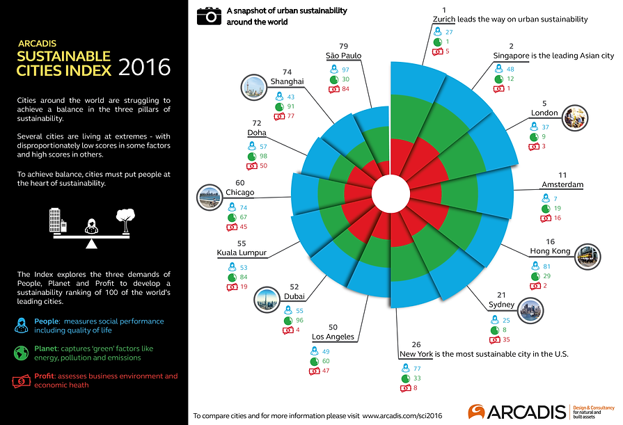 infographic data visualisation sustainable index sustainability cities london paris
