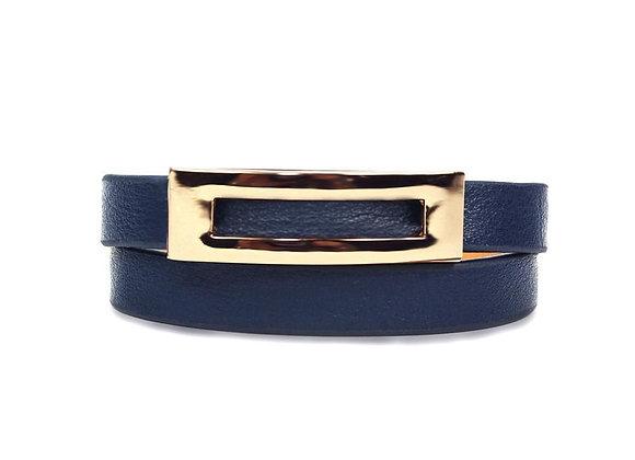Buckled Leather Bracelet - Navy Blue