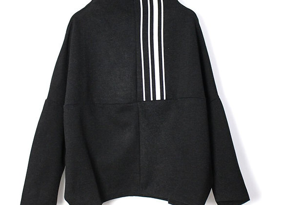 Wide neck striped sweater