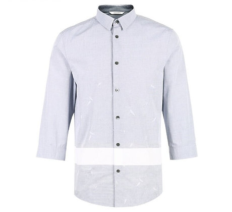 Cotton  Splice 3/4 Sleeves Shirt