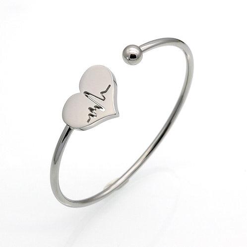 Heart Carved Electrocardiogram Charm Bracelet
