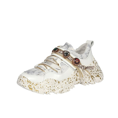 Jaka Leather Rhinestone Sneakers