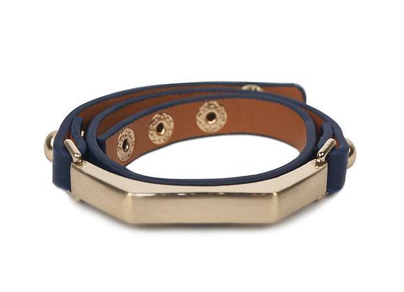 Sash Leather Bracelet- Navy Blue