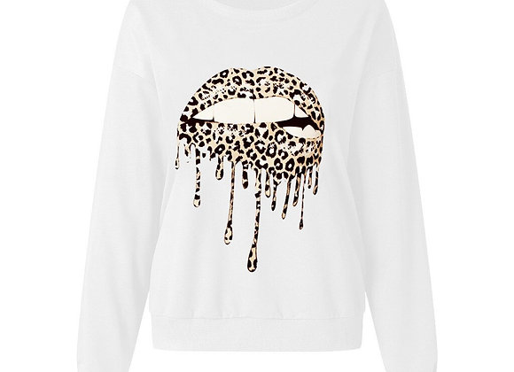Women's leopard lip sweatshirt