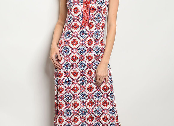 Womens Ivory Coral Dress