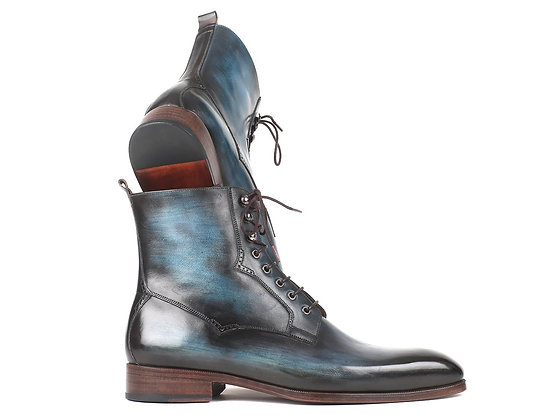 Blue & Brown Leather Boots