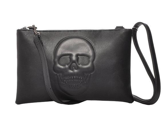 Mechaly Women's Skully Black Vegan Leather Skull Clutch Crossbody Handbag