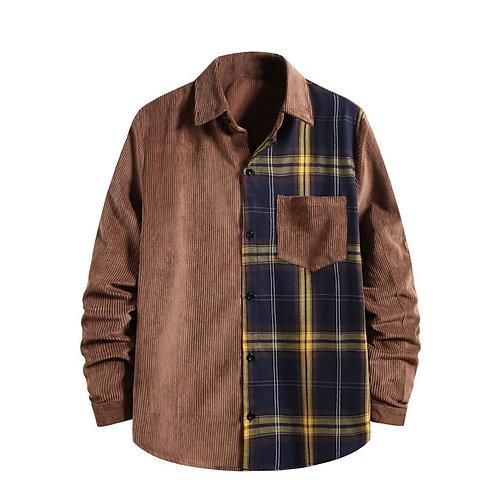 Men's half plaid casual shirt