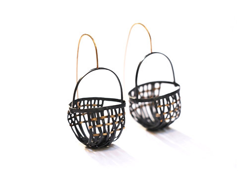 Aborigen Earrings - one of a kind - Fairmined silver and gold (18k)