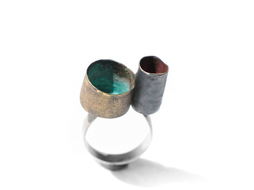 Colorful emptiness ring 2 - one of a kind - silver and brass