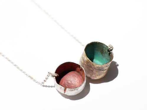 Colorful emptiness necklace 2 - one of a kind - silver and brass
