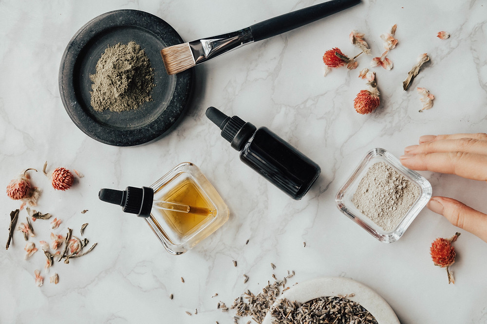 skincare on a marble desk