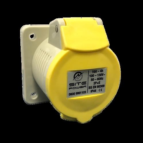 Yellow -110 Volt - 16Amp Panel Socket IP44 c/w gasket