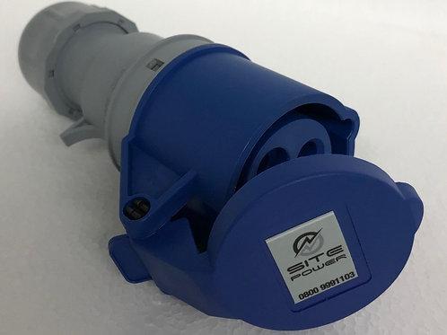 Blue 230 Volt - 16 Amp Trailing Socket with flip cover