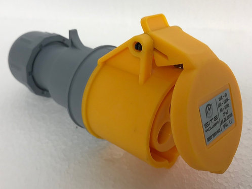 Yellow 110 Volt - 16 Amp Trailing Socket with flip cover