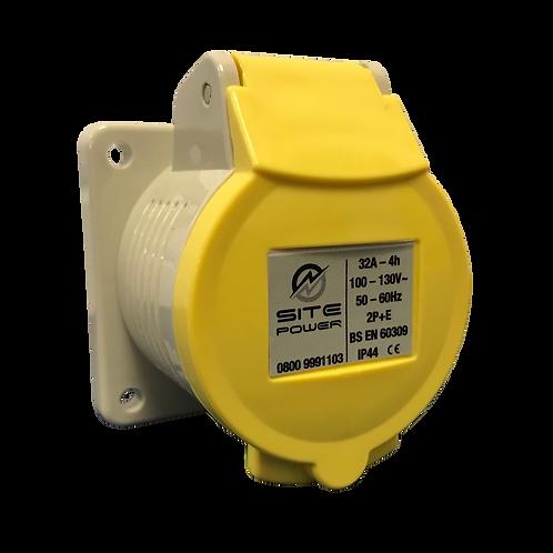 Yellow -110 Volt - 32Amp Panel Socket IP44 c/w gasket