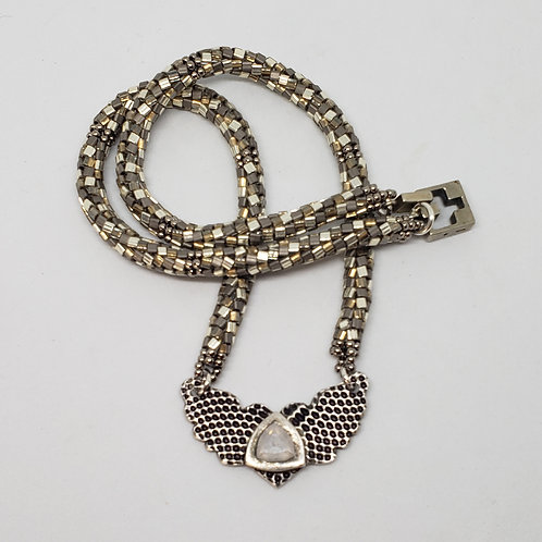 Shades of Silver Beaded Rope with Pure Silver Wings Pendant and Nano Gem