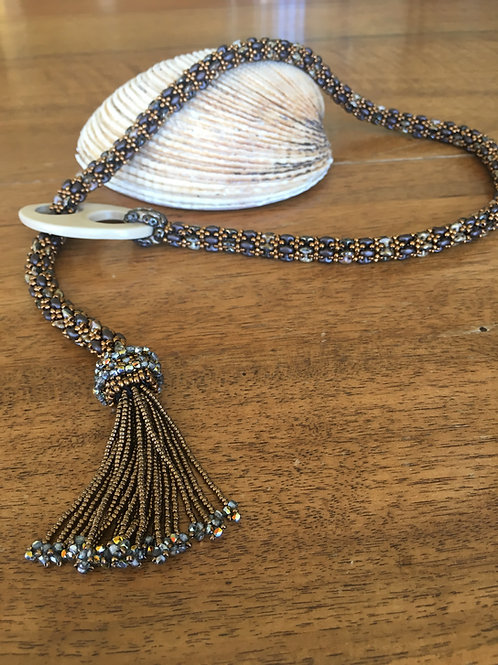 Beaded Rope with Porcelain Clasp and Tassel