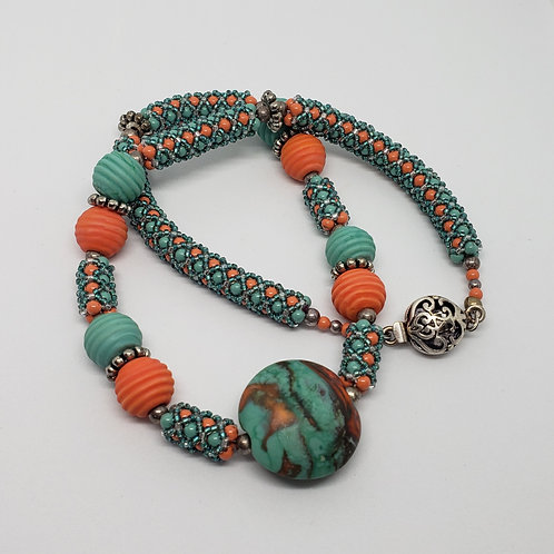 Coral and Turquoise Glass Focal Necklace