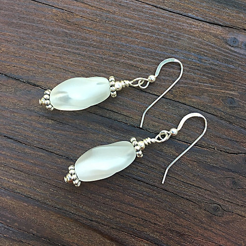Translucent White and Silver Earrings