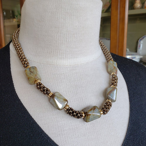 Chunky Faceted Barrel Shape Beads on Soft Brown Bronze Beaded Rope