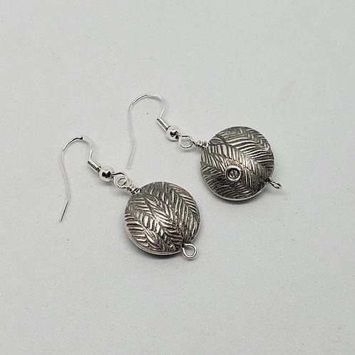 Filigree Texture. Leaf Texture. Pure Silver Earrings. Dangle Earrings.
