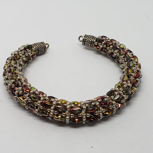 Sparkly Red Silver and Apple Green Bracelet