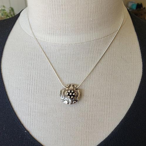 2 Sided Silver Pendant. Swirling Dots. Rose Flower. Lentil Pendant