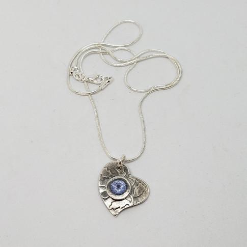 Blue Tanzanite on a Vine Silver Pendant