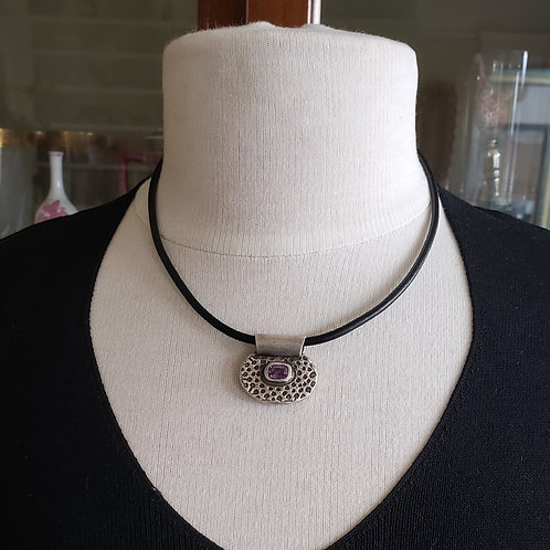 Pure Silver Pendant with Amethyst Nano Gem on Black Cord