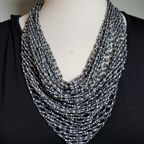 Silver Mix Beaded Scarf