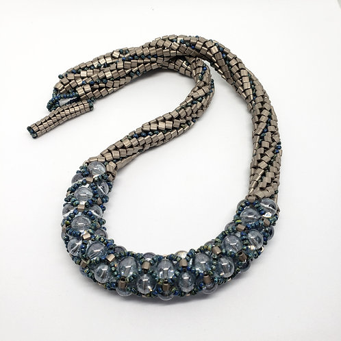 Choker Necklace with Blue Glass Beads in Fishnet