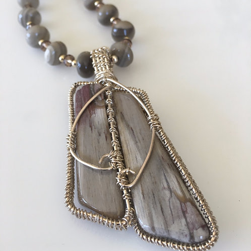 Long Jasper Petrified Wood and Silver Necklace