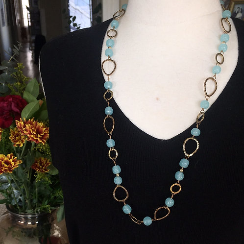 Miriam Haskell Vintage Blue and Gold Long Necklace