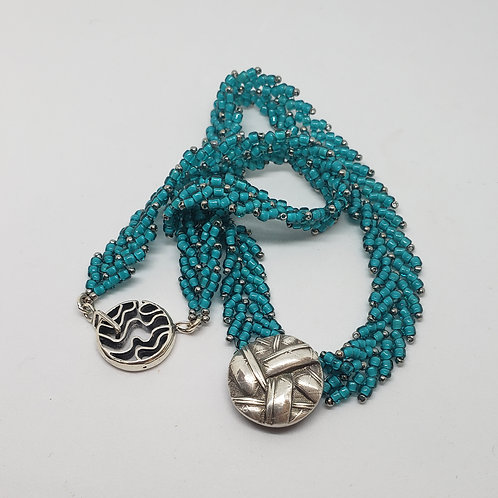 Pure Silver and turquoise Beaded Necklace