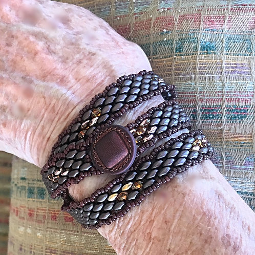 Wrap Bracelet with Leather Button Clasp