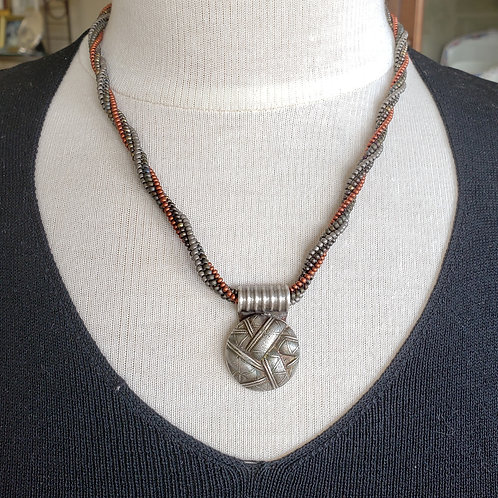 Unique Silver Pendant on Taupe Grey and Fire Red Rope