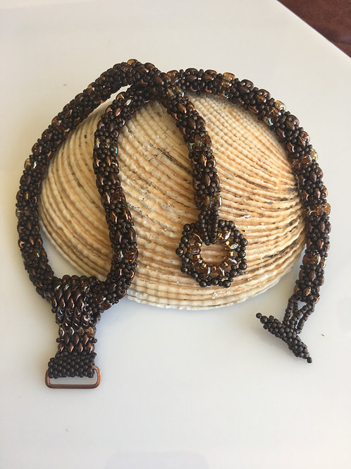 Copper Beaded Rope with Metal Focal