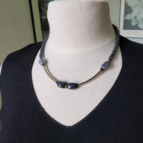 Denim Silver and Hematite Necklace