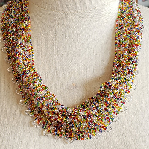 Multi-Colored Holiday Festive Beaded Scarf