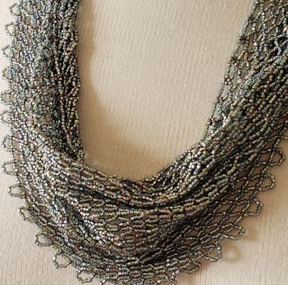 silver blue fire polish beaded scarf 23_