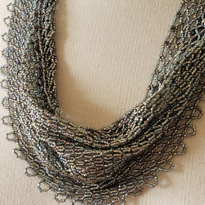 silver blue fire polish beaded scarf 23_