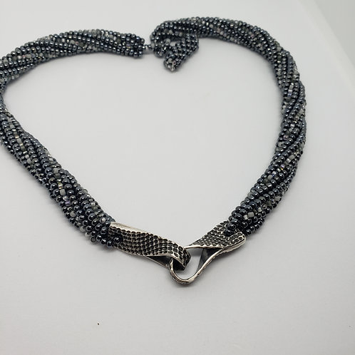 Twisted Pure Silver Loops on Hematite and Grey Beaded Rope