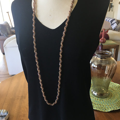 Luscious Long Peachy Taupe Crystal Rope