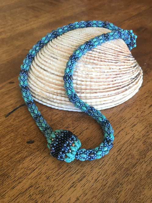 Turquoise and Denim Blue Beaded Rope with Beaded Focal