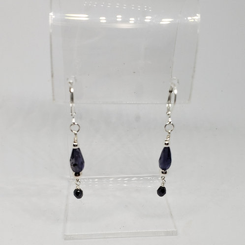Dainty Blue Iolite and Silver Earrings