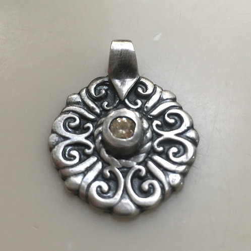 Round Filigree Silver Pendant with Yellow CZ